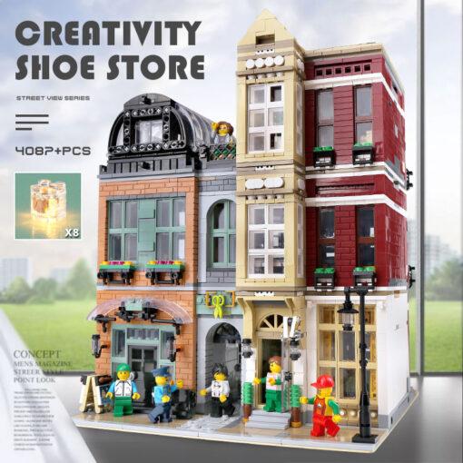 16001 MOC Streetview Building Toys The 10005 Shoes Store Model Assembly Led Kits Building Blocks Bricks 1