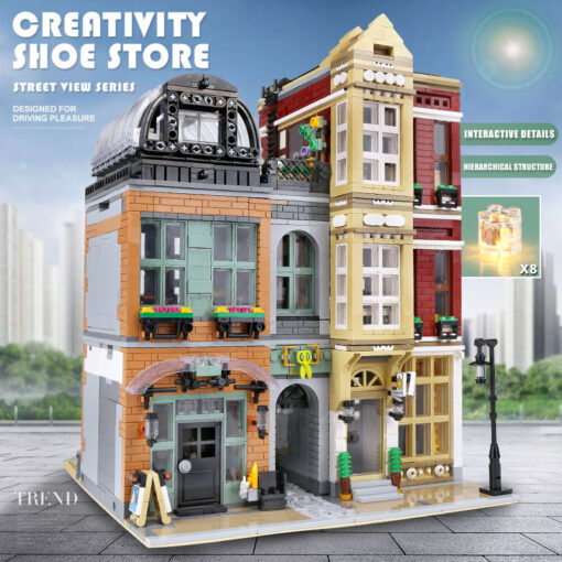 16001 MOC Streetview Building Toys The 10005 Shoes Store Model Assembly Led Kits Building Blocks Bricks 3