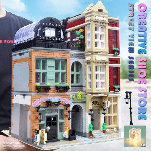 16001 MOC Streetview Building Toys The 10005 Shoes Store Model Assembly Led Kits Building Blocks Bricks 5