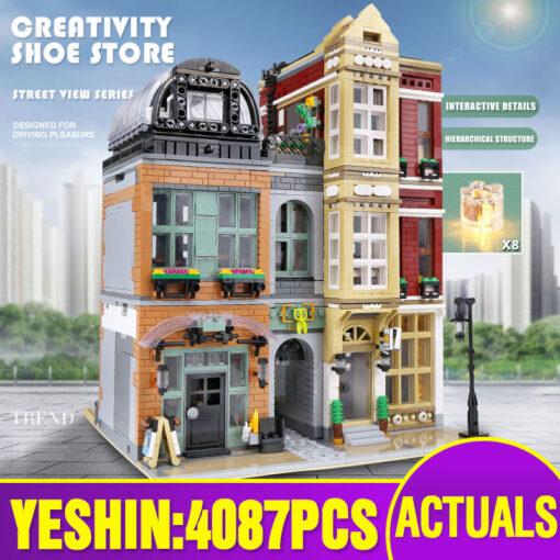 16001 MOC Streetview Building Toys The 10005 Shoes Store Model Assembly Led Kits Building Blocks Bricks