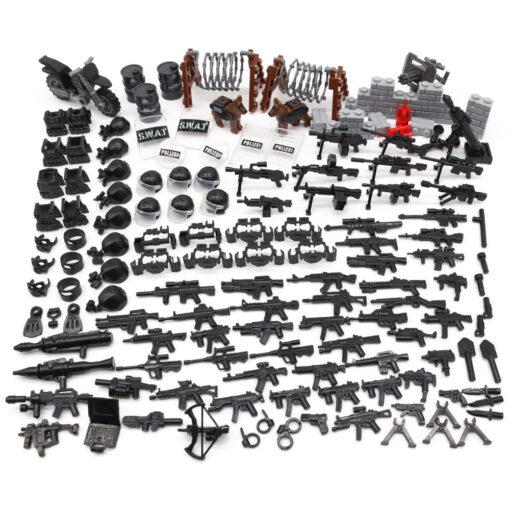 160Pcs Military SWAT Weapon Set Army Police Box Mask Moto Shield Hat Building Blocks MOC Figure