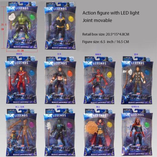 16CM LED Light Action Figure The Avengers Final Battle Heroes Captain Marvel Figure Toys for Children