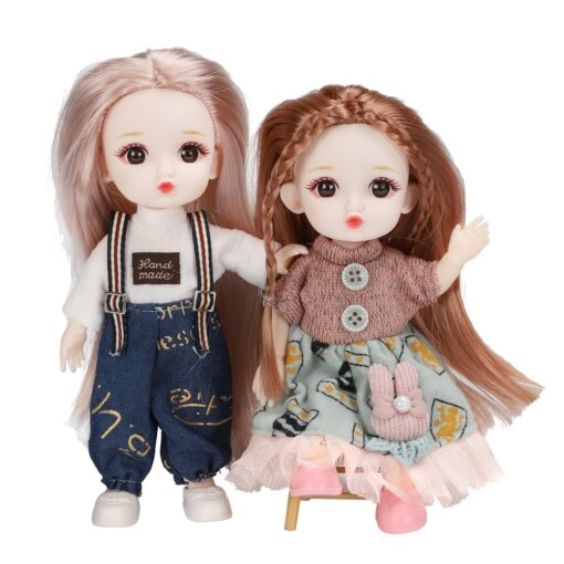 16cm BJD Doll 13 Joints moveable Fashion Dolls Baby nude body with Shoes dodo mouth makeup