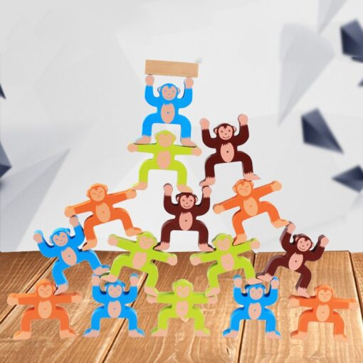 16pcs Balance Building Blocks Kit Naughty Monkey Children s Educational Fun Games Balancing Blocks Games Educational 1