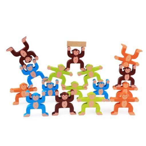 16pcs Balance Building Blocks Kit Naughty Monkey Children s Educational Fun Games Balancing Blocks Games Educational 2