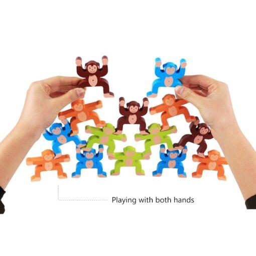 16pcs Balance Building Blocks Kit Naughty Monkey Children s Educational Fun Games Balancing Blocks Games Educational 3