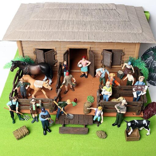 17PCS Assorted Simulation Farmer people Model Action Figures PVC Doll Farm Staff Figures Playsets Educational Toys 1