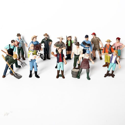 17PCS Assorted Simulation Farmer people Model Action Figures PVC Doll Farm Staff Figures Playsets Educational Toys 2