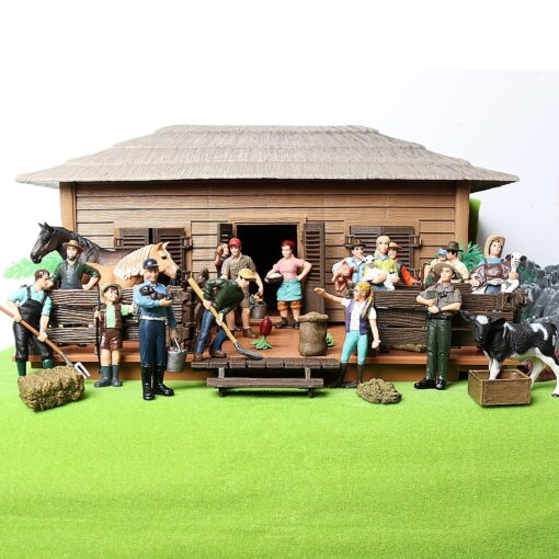17PCS Assorted Simulation Farmer people Model Action Figures PVC Doll Farm Staff Figures Playsets Educational Toys