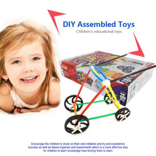 180 packs 4D DIY Straw Building Blocks Plastic Stitching Inserted Construction Assembled Blocks Bricks Baby Kid 1
