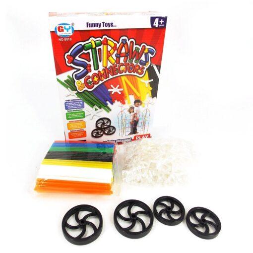 180 packs 4D DIY Straw Building Blocks Plastic Stitching Inserted Construction Assembled Blocks Bricks Baby Kid 3