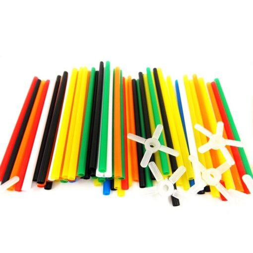 180 packs 4D DIY Straw Building Blocks Plastic Stitching Inserted Construction Assembled Blocks Bricks Baby Kid 5