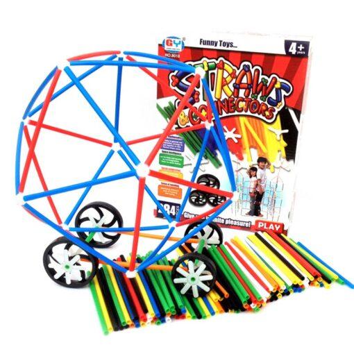 180 packs 4D DIY Straw Building Blocks Toy Set Plastic Stitching Inserted Construction Assembled Blocks Bricks 2