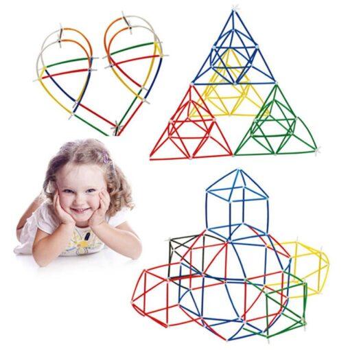 180 packs 4D DIY Straw Building Blocks Toy Set Plastic Stitching Inserted Construction Assembled Blocks Bricks
