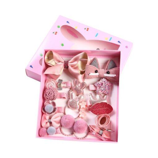 18pcs Children Cartoon Hair Clip Girl Gift Headwear Boxed Hairpin Hair Rope Accessories Hair Ring Circle 1
