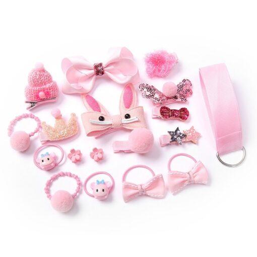 18pcs Children Cartoon Hair Clip Girl Gift Headwear Boxed Hairpin Hair Rope Accessories Hair Ring Circle 3