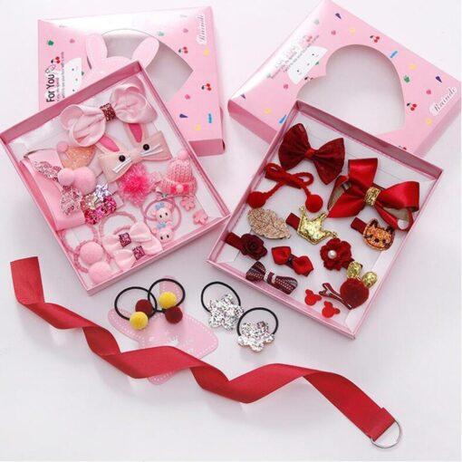 18pcs Children Cartoon Hair Clip Girl Gift Headwear Boxed Hairpin Hair Rope Accessories Hair Ring Circle