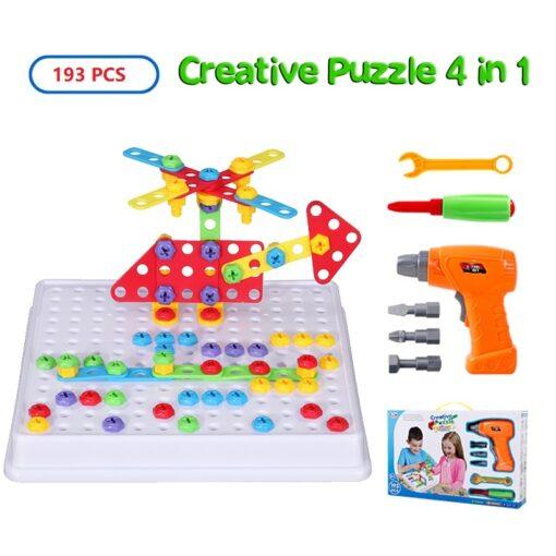 193Pcs Electric Drill Screw 3D Puzzle Toys For Children Boys DIY Creative Mosaic Puzzle Toys Kids 1