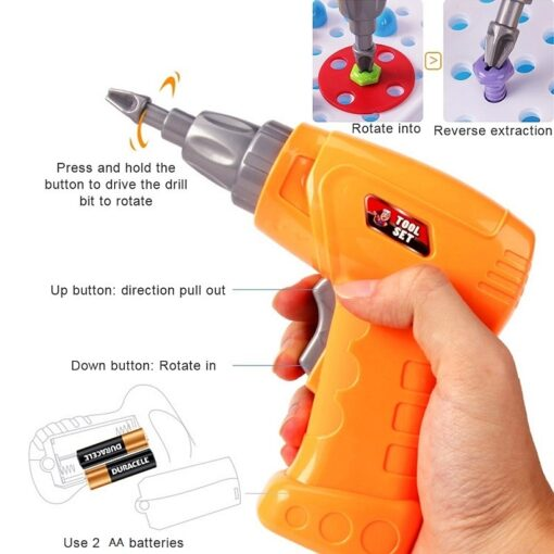 193Pcs Electric Drill Screw 3D Puzzle Toys For Children Boys DIY Creative Mosaic Puzzle Toys Kids 4