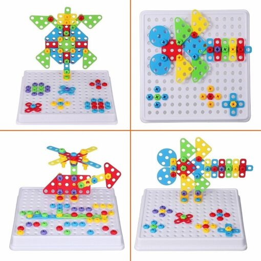 193Pcs Electric Drill Screw 3D Puzzle Toys For Children Boys DIY Creative Mosaic Puzzle Toys Kids 5