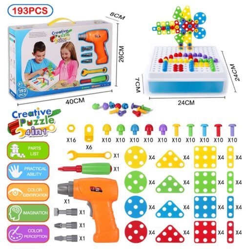 193Pcs Electric Drill Screw 3D Puzzle Toys For Children Boys DIY Creative Mosaic Puzzle Toys Kids