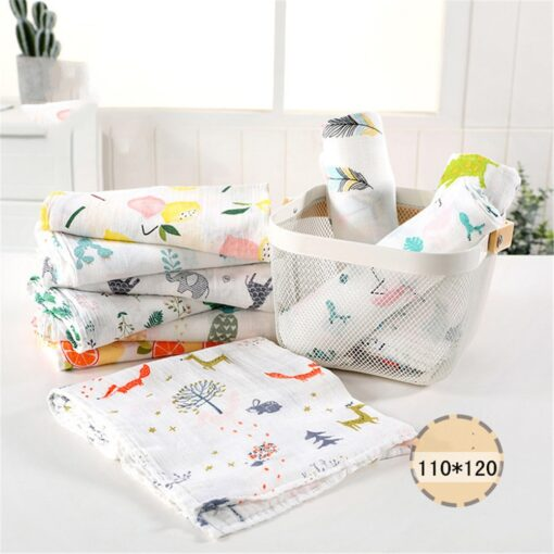 1PC 120cm 110cm Swaddle Blanket Baby Blanket Bamboo Muslin Blanket Baby Blankets Newborn Blanket Swaddle Cotton