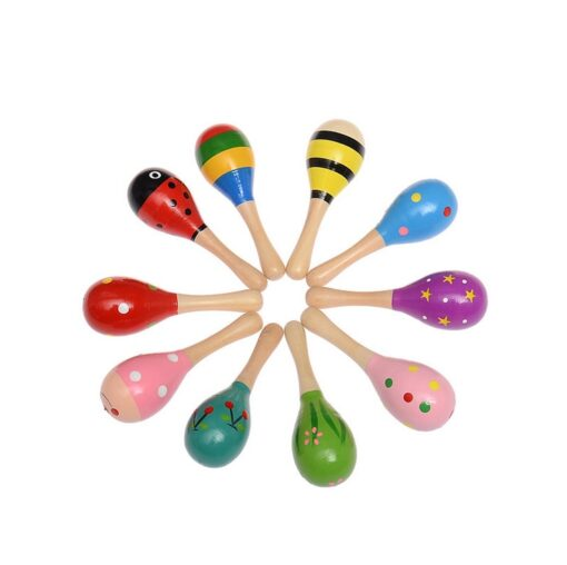 1PC Baby Colorful Wooden Hand Rattles Sand Hammer Child Baby Shaker Percussion Musical Instrument Kid Musical 2