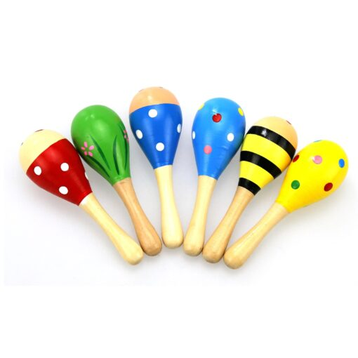 1PC Baby Colorful Wooden Hand Rattles Sand Hammer Child Baby Shaker Percussion Musical Instrument Kid Musical 3