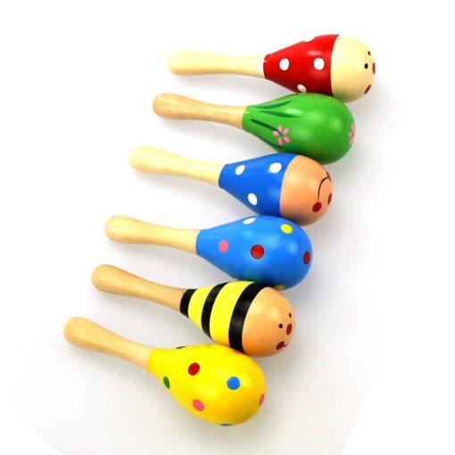 1PC Baby Colorful Wooden Hand Rattles Sand Hammer Child Baby Shaker Percussion Musical Instrument Kid Musical
