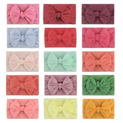 1PC Brand New Newborn Toddler Baby Girls Super Soft Nylon Chiffon Hairband Cute Bow knot Princess 1