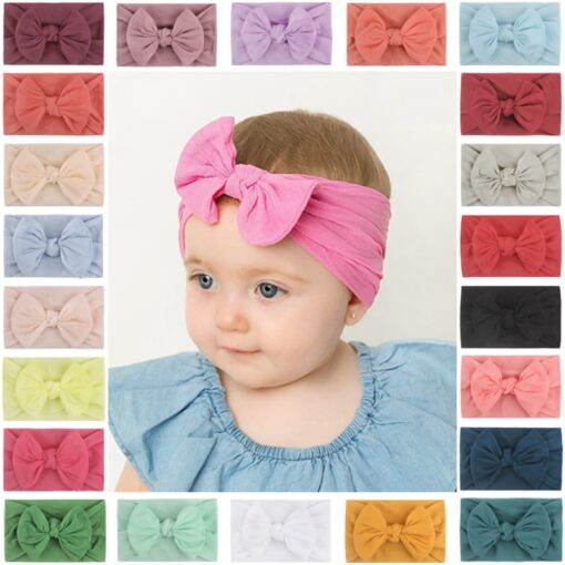 1PC Brand New Newborn Toddler Baby Girls Super Soft Nylon Chiffon Hairband Cute Bow knot Princess