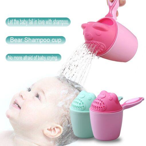 1PC Cute Cartoon Shampoo cup Baby Spoon Shower Bath Water Swimming Head Watering Bottle Todder Kids