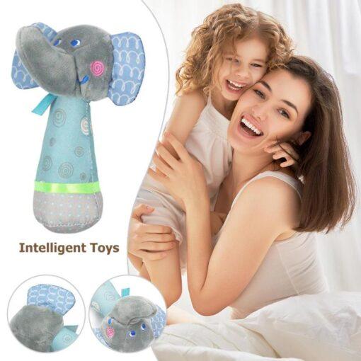 1PC Newborn Baby Hand Bells Rattles Toys Kids Soft Cute Cartoon Animals Playmate Plush Doll Toys 2