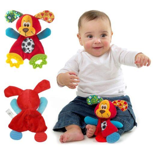 1PC Newborn Baby Hand Bells Rattles Toys Kids Soft Cute Cartoon Animals Playmate Plush Doll Toys 3