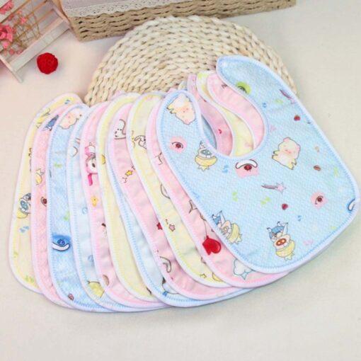 1PCS Baby Cotton Bibs Kids Girl Boy Children Cartoon Waterproof Dinner Feeding Bib Infant Newborn Burp 1
