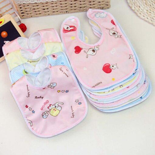 1PCS Baby Cotton Bibs Kids Girl Boy Children Cartoon Waterproof Dinner Feeding Bib Infant Newborn Burp