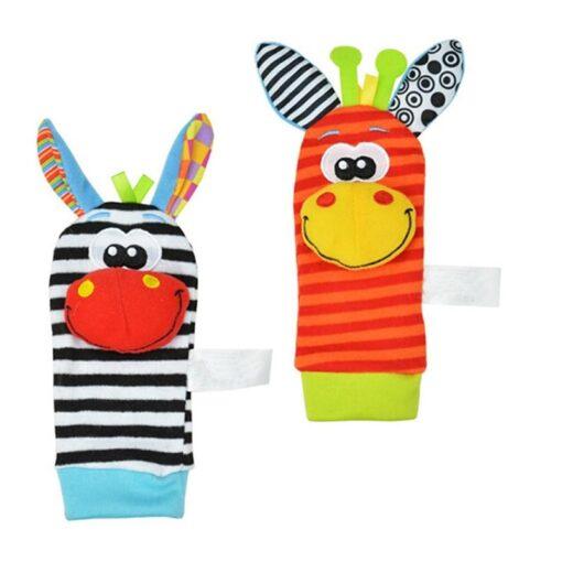 1Pair Baby Cartoon Rattle Sock Infant Baby Kids Socks Rattle Toys Wrist Rattle Foot Socks 0 2