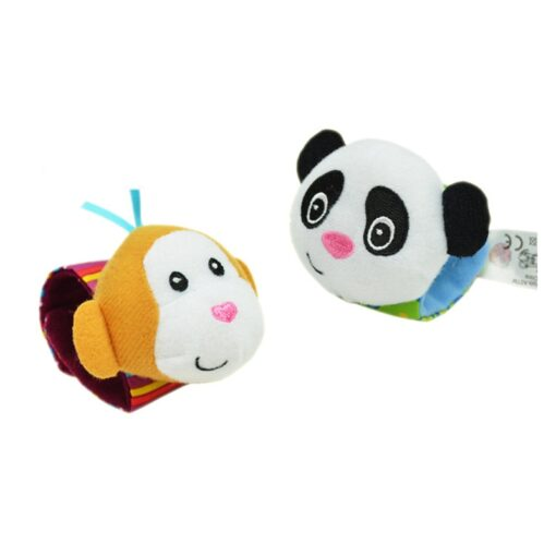1Pair Baby Cartoon Rattle Sock Infant Baby Kids Socks Rattle Toys Wrist Rattle Foot Socks 0 3
