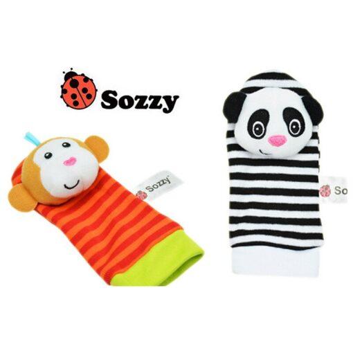 1Pair Baby Cartoon Rattle Sock Infant Baby Kids Socks Rattle Toys Wrist Rattle Foot Socks 0 5