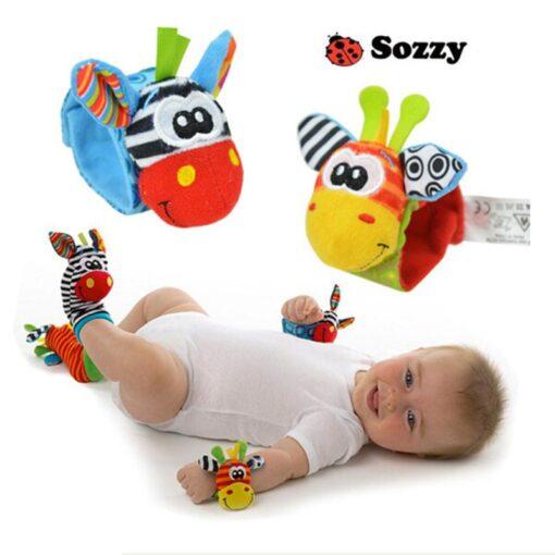 1Pair Baby Cartoon Rattle Sock Infant Baby Kids Socks Rattle Toys Wrist Rattle Foot Socks 0