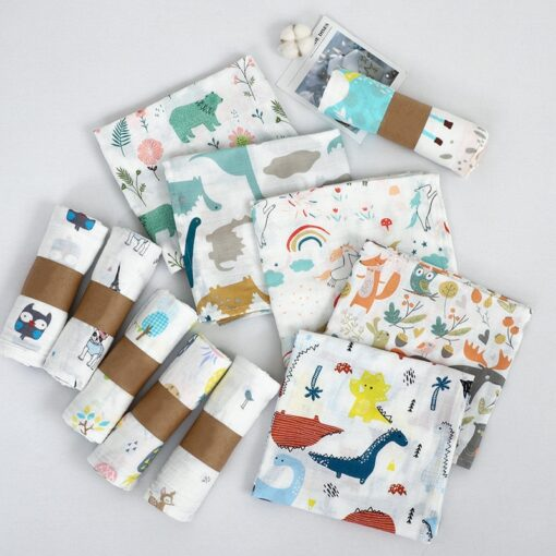 1Pc Muslin 100 Cotton Baby Swaddles Soft Newborn Blanket Bath Gauze Infant Wrap Sleepsack Stroller Cover 1