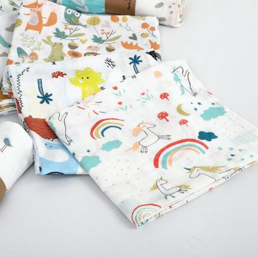 1Pc Muslin 100 Cotton Baby Swaddles Soft Newborn Blanket Bath Gauze Infant Wrap Sleepsack Stroller Cover 2
