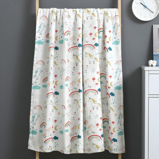 1Pc Muslin 100 Cotton Baby Swaddles Soft Newborn Blanket Bath Gauze Infant Wrap Sleepsack Stroller Cover 4