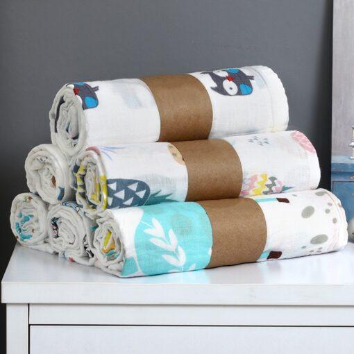 1Pc Muslin 100 Cotton Baby Swaddles Soft Newborn Blanket Bath Gauze Infant Wrap Sleepsack Stroller Cover