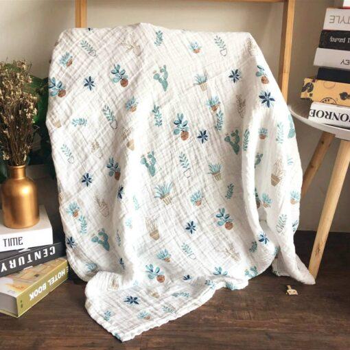 1Pc Muslin 100 Cotton Baby Swaddles Soft Newborn Blankets Bath Gauze Infant Wrap Sleepsack Stroller Cover 15