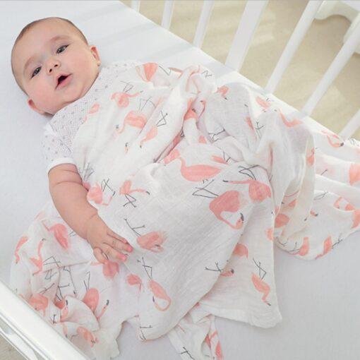 1Pc Muslin 100 Cotton Baby Swaddles Soft Newborn Blankets Bath Gauze Infant Wrap Sleepsack Stroller Cover 5