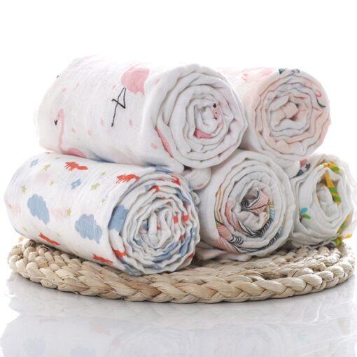 1Pc Muslin 100 Cotton Baby Swaddles Soft Newborn Blankets Bath Gauze Infant Wrap Sleepsack Stroller Cover