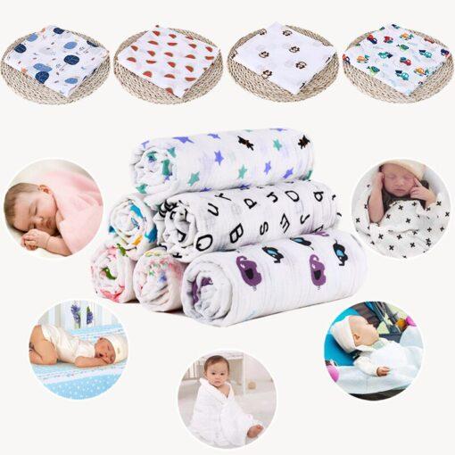 1Pc Muslin 100 Cotton Baby Swaddles Soft Newborn Blankets Bath Gauze Infant Wrap sleepsack Stroller cover 6