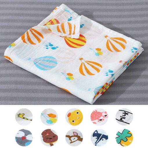1Pc Muslin Cotton Baby Swaddles Soft Newborn Blankets Bath Gauze Infant Wrap Sleepsack Stroller Cover Play 3