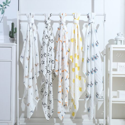 1Pc Muslin Cotton Baby Swaddles Soft Newborn Blankets Bath Gauze Infant Wrap Sleepsack Stroller Cover Play